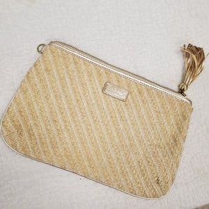 Lilly Pulitzer Patio Clutch gold & tan woven